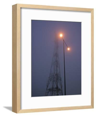Electricity Tower and Freeway Lighting Emerge from Heavy Fog-Jason Edwards-Framed Art Print