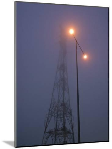Electricity Tower and Freeway Lighting Emerge from Heavy Fog-Jason Edwards-Mounted Photographic Print