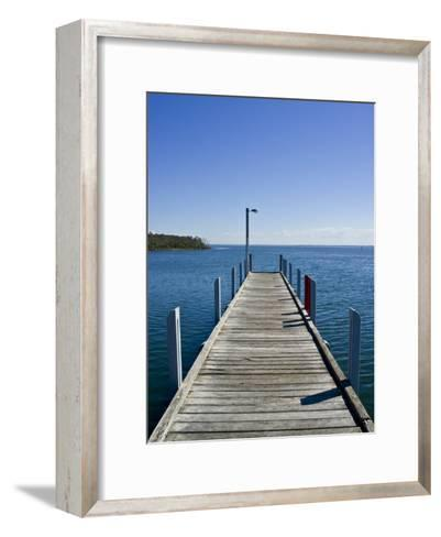 Small Jetty in a Sheltered and Secluded Bay on a Summers Morning-Jason Edwards-Framed Art Print