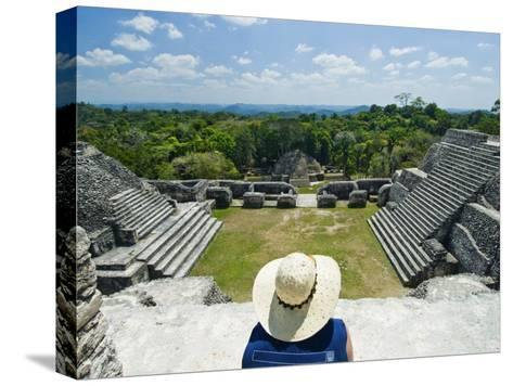 Young Woman Relazing at the Mayan Ruins at Caracol, Belize-James Forte-Stretched Canvas Print