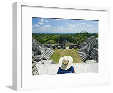 Young Woman Relazing at the Mayan Ruins at Caracol, Belize-James Forte-Framed Art Print
