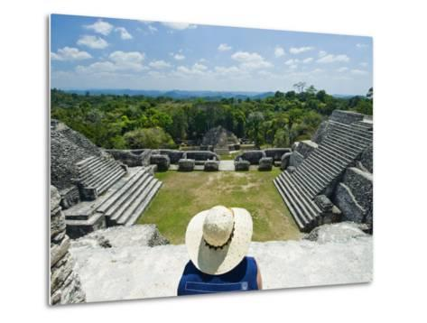 Young Woman Relazing at the Mayan Ruins at Caracol, Belize-James Forte-Metal Print