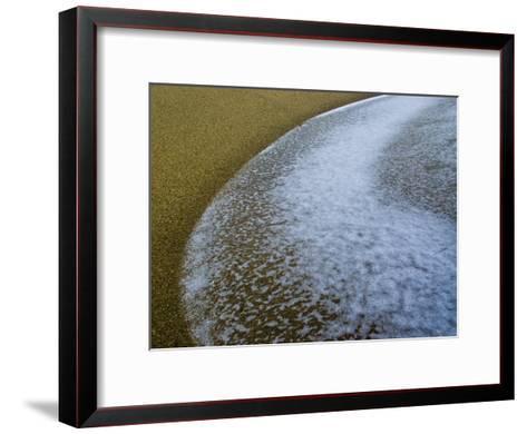 Foamy Edge of a Winter Wave Sweeps onto an Empty Sandy Beach-Jason Edwards-Framed Art Print