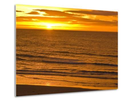 Dawn Rises Golden over Bass Straits Vast and Distant Horizon-Jason Edwards-Metal Print