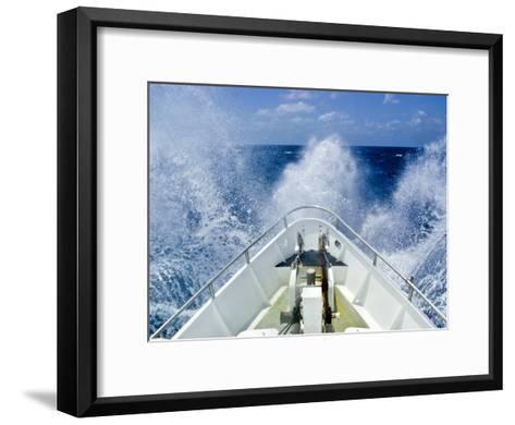 Bow of a Ship Ploughs Through Heavy Seas and Spray in Open Ocean-Jason Edwards-Framed Art Print