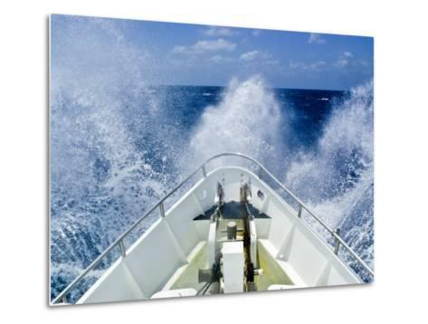 Bow of a Ship Ploughs Through Heavy Seas and Spray in Open Ocean-Jason Edwards-Metal Print