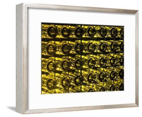 Garden Wall Made Of Recycled Glass Wine Bottles Illuminated At Night Jason Edwards Framed