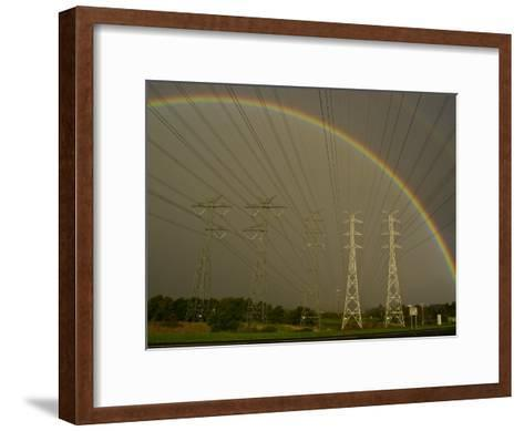 Vast Array of Electrical Towers and Cables Beneath a Huge Rainbow-Jason Edwards-Framed Art Print