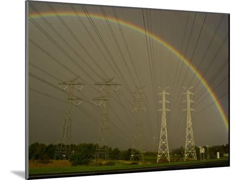 Vast Array of Electrical Towers and Cables Beneath a Huge Rainbow-Jason Edwards-Mounted Photographic Print