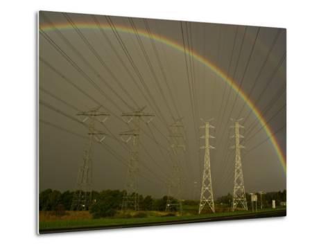Vast Array of Electrical Towers and Cables Beneath a Huge Rainbow-Jason Edwards-Metal Print