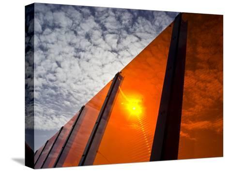 Bright Orange Sound Barrier by a Freeway-Jason Edwards-Stretched Canvas Print