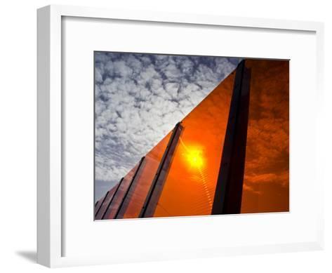 Bright Orange Sound Barrier by a Freeway-Jason Edwards-Framed Art Print
