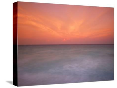 Sunset and Surf at Cancun Beach-Raul Touzon-Stretched Canvas Print