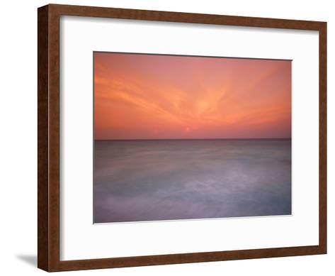 Sunset and Surf at Cancun Beach-Raul Touzon-Framed Art Print