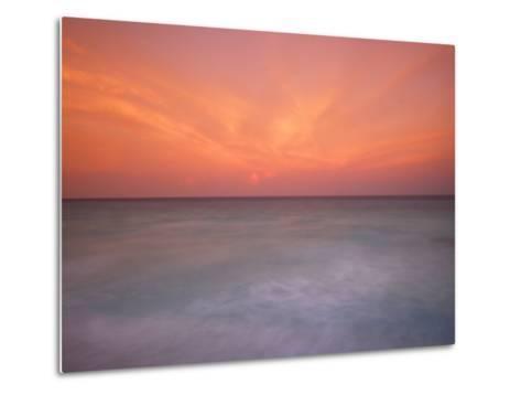 Sunset and Surf at Cancun Beach-Raul Touzon-Metal Print