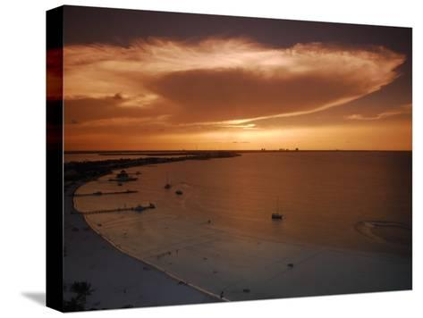 Beach and Skyline of Cancun at Sunset-Raul Touzon-Stretched Canvas Print