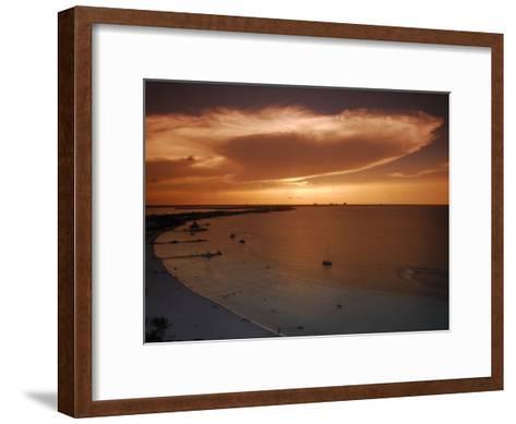 Beach and Skyline of Cancun at Sunset-Raul Touzon-Framed Art Print