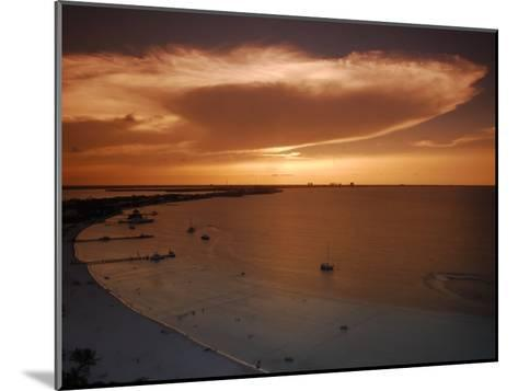 Beach and Skyline of Cancun at Sunset-Raul Touzon-Mounted Photographic Print