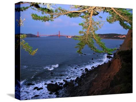 Golden Gate Bridge Seen from Legion of Honor, Mile Rock Beach Area-Raymond Gehman-Stretched Canvas Print