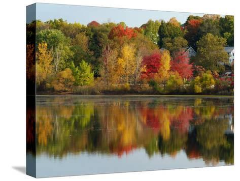 Fall Foliage Reflected in the Arlington Reservoir-Darlyne A^ Murawski-Stretched Canvas Print