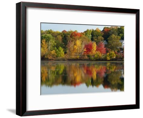 Fall Foliage Reflected in the Arlington Reservoir-Darlyne A^ Murawski-Framed Art Print