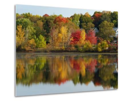 Fall Foliage Reflected in the Arlington Reservoir-Darlyne A^ Murawski-Metal Print