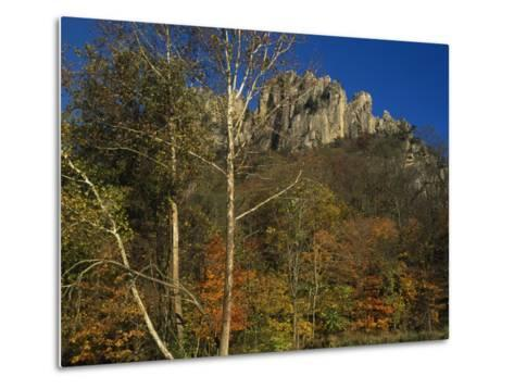Seneca Rocks with Trees in Autumn Hues-Raymond Gehman-Metal Print