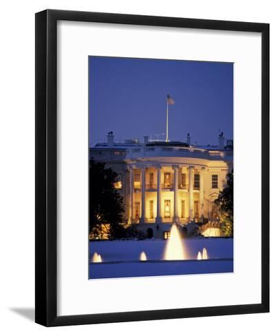 White House South Portico at Dusk-Richard Nowitz-Framed Art Print