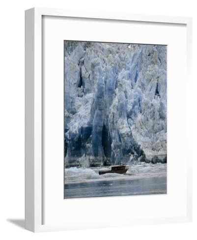 Fishing Boat Dangerously Close to a Crumbling Glacier's Edge-Paul Sutherland-Framed Art Print