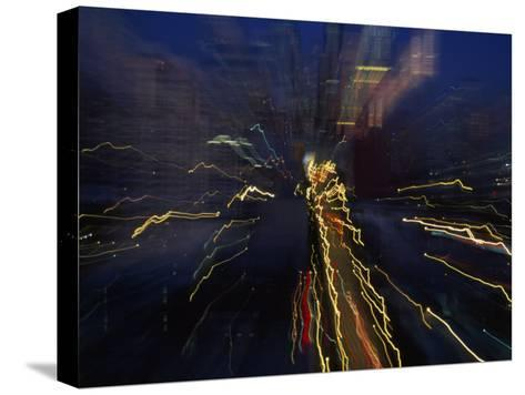 Blurred and Abstract Night View of the City Lights of Seattle--Stretched Canvas Print