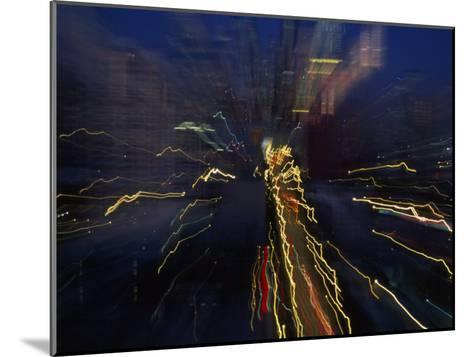 Blurred and Abstract Night View of the City Lights of Seattle--Mounted Photographic Print