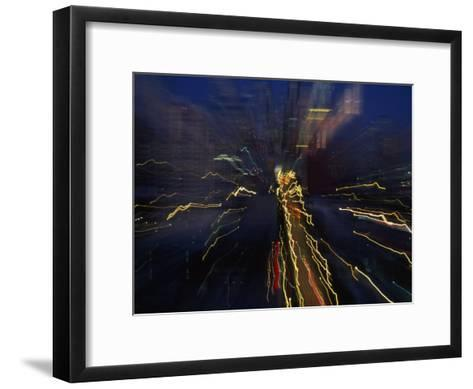 Blurred and Abstract Night View of the City Lights of Seattle--Framed Art Print