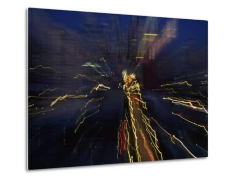Blurred and Abstract Night View of the City Lights of Seattle--Metal Print