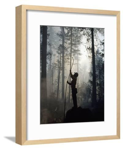 Firefighter Spraying Water Up into Trees in a Forest Fire-Chris Johns-Framed Art Print