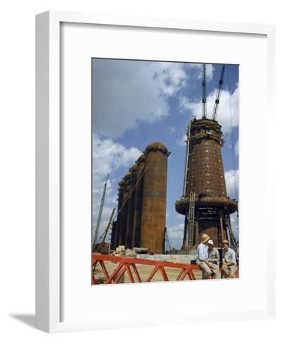 Blast Furnaces Tower over Steel Workers on a Lunch Break-Jack Fletcher-Framed Art Print