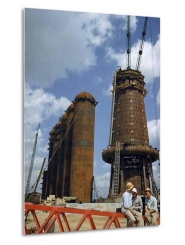 Blast Furnaces Tower over Steel Workers on a Lunch Break-Jack Fletcher-Metal Print