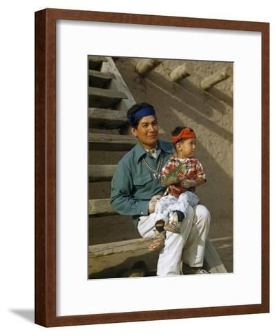 Native American Father and Son Dressed for a Dance Sit Together-Justin Locke-Framed Art Print