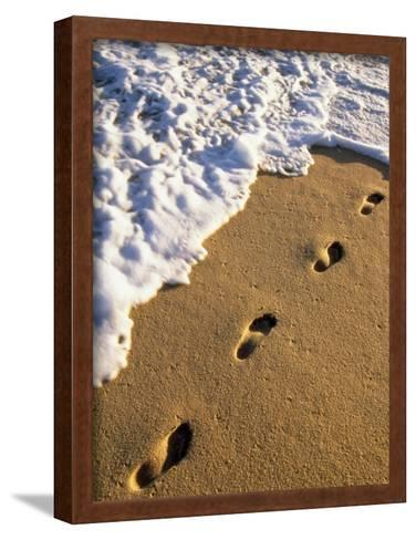Footprints in the Sand, Near the Water's Edge-Michael Melford-Framed Art Print