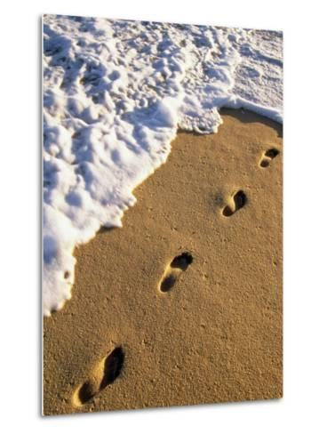 Footprints in the Sand, Near the Water's Edge-Michael Melford-Metal Print