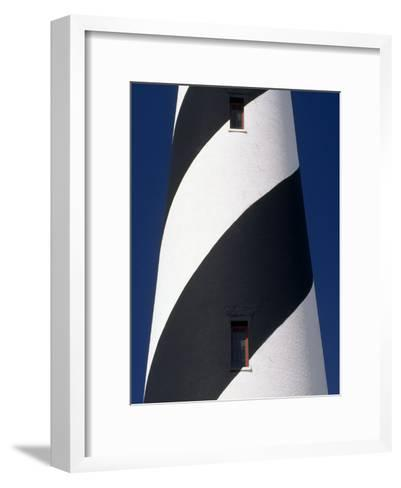 Close-View of a Striped Lighthouse in Cape Hatteras-Michael Melford-Framed Art Print