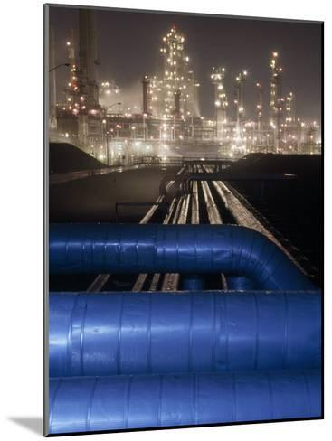 Night View of the Lights of an Oil Refinery-Michael Melford-Mounted Photographic Print