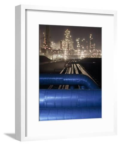 Night View of the Lights of an Oil Refinery-Michael Melford-Framed Art Print