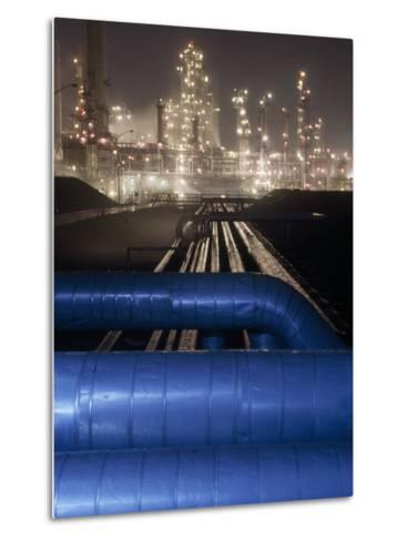 Night View of the Lights of an Oil Refinery-Michael Melford-Metal Print