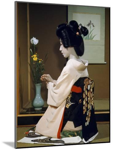 Portrait of a Seated Geisha Wearing Kimono and Obi-Joseph Baylor Roberts-Mounted Photographic Print