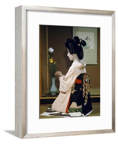 Portrait of a Seated Geisha Wearing Kimono and Obi-Joseph Baylor Roberts-Framed Art Print