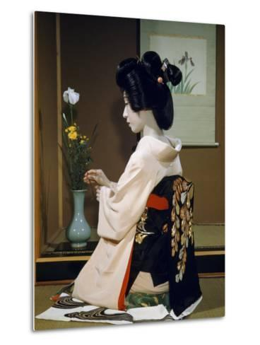 Portrait of a Seated Geisha Wearing Kimono and Obi-Joseph Baylor Roberts-Metal Print