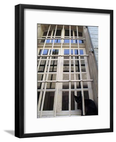 Black Cat Sitting in a Barred Window, in Menerbes-Jim Sugar-Framed Art Print
