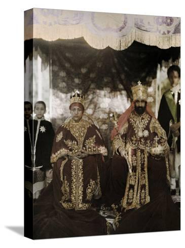 Monarchs Haile Selassie the First and Manen, Pose in their Robes-W^ Robert Moore-Stretched Canvas Print