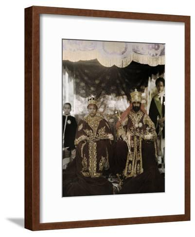 Monarchs Haile Selassie the First and Manen, Pose in their Robes-W^ Robert Moore-Framed Art Print