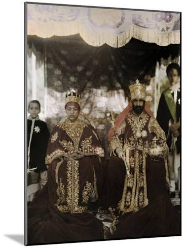 Monarchs Haile Selassie the First and Manen, Pose in their Robes-W^ Robert Moore-Mounted Photographic Print
